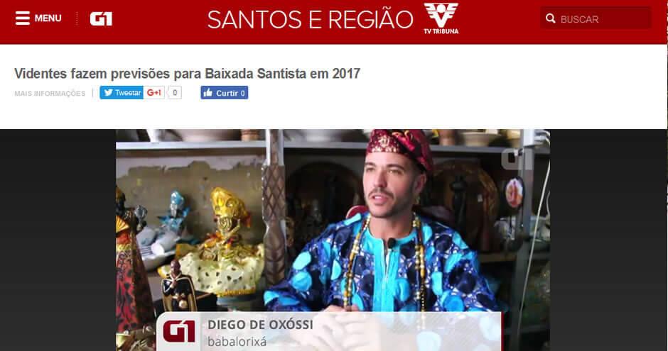 Diego de Oxóssi no G1: Previsões 2017 para Santos e Baixada Santista